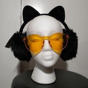 Black Cat Ears Ear Muffs Nekomimi